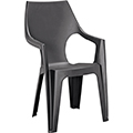 Dante kartámaszos magas támlás műanyag kerti szék, rakásolható típus - grafit