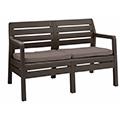 Delano műanyag kerti 2 üléses kanapé - barna - szürke - bézs