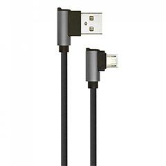 Diamond L alakú USB - Micro USB nejlon-szövetkábel (1 méter) fekete - USB 2.0