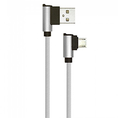 Diamond L alakú USB - Micro USB nejlon-szövetkábel (1 méter) szürke - USB 2.0
