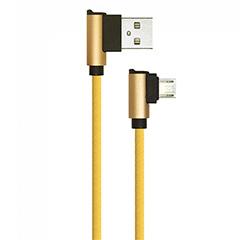 Diamond L alakú USB - Micro USB nejlon-szövetkábel (1 méter) arany - USB 2.0