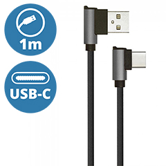 Diamond L alakú USB - USB-C nejlon-szövetkábel (1 méter) fekete - USB 2.0