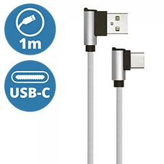 Diamond L alakú USB - USB-C nejlon-szövetkábel (1 méter) szürke - USB 2.0