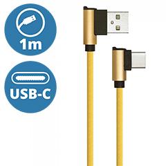 Diamond L alakú USB - USB-C nejlon-szövetkábel (1 méter) arany - USB 2.0