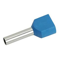 Érvéghüvely dupla 2x2.5 mm2 vezetékekhez, kék (100db/csomag)