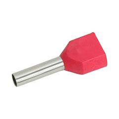 Érvéghüvely dupla 2x1.0 mm2 vezetékekhez, piros (100db/csomag)