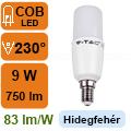 LED lámpa E14 (9Watt/300°) T37 rúd - hideg fehér