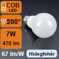 LED lámpa E27 (7Watt/200°) Körte - hideg fehér