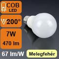 LED lámpa E27 (7Watt/200°) Körte - meleg fehér