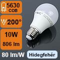 LED lámpa E27 (10Watt/200°) Körte - hideg fehér
