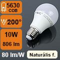 LED lámpa E27 (10Watt/200°) Körte - természetes fehér