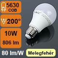 LED lámpa E27 (10Watt/200°) Körte - meleg fehér