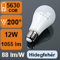 LED lámpa E27 (12Watt/200°) Körte - hideg fehér