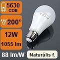 LED lámpa E27 (12Watt/200°) Körte - természetes fehér