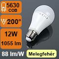 LED lámpa E27 (12Watt/200°) Körte - meleg fehér