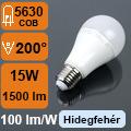LED lámpa E27 (15Watt/200°) Körte - hideg fehér