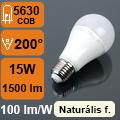 LED lámpa E27 (15Watt/200°) Körte - természetes fehér