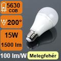 LED lámpa E27 (15Watt/200°) Körte - meleg fehér