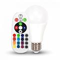 LED lámpa E27 (6W/200°) Körte - RGB+NW+IR távirányítható