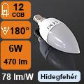 LED lámpa E14 (6Watt/180°) Gyertya - hideg fehér
