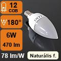 LED lámpa E14 (6Watt/180°) Gyertya - természetes fehér