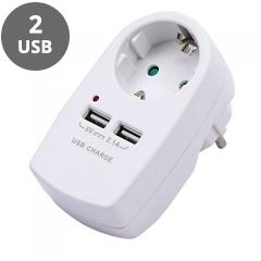 Fali aljzat (1 földelt + 2 USB) fehér
