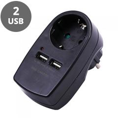 Fali aljzat (1 földelt + 2 USB) fekete