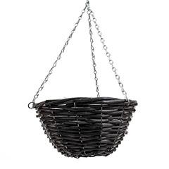 Fonott függő kaspó (100%-ban természetes anyagból) - Fekete (30 L)