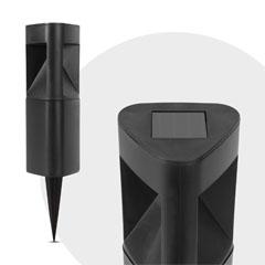 Kerti szolár LED lámpa, háromszög alakú - fekete