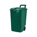 Görgős kültéri szemetes 90L - zöld