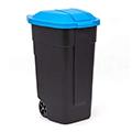 Görgős szelektív szemetes 110L - fekete - kék