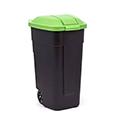 Görgős szelektív szemetes 110L - fekete - zöld