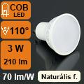 LED lámpa GU10 (3Watt/110°) természetes fehér