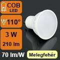 LED lámpa GU10 (3Watt/110°) meleg fehér