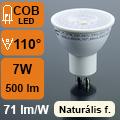 LED lámpa GU10 (COB LED/7Watt/110°) fehér ház, term. fehér