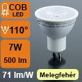 LED lámpa GU10 (COB LED/7Watt/110°) fehér ház, meleg fehér