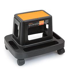 Műanyag gurulós szék szerszámtartóval (150 kg teherbírással) narancs-fekete