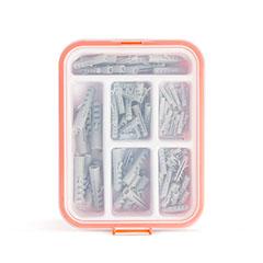 Műanyag tipli készlet (100db/csomag) rendszerező dobozban