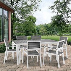 Harmony szett, asztal 6 székkel, fehér - világos szürke