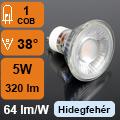 LED lámpa GU10 (COB LED/5Watt/38°) opál, hideg fehér