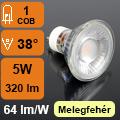 LED lámpa GU10 (COB LED/5Watt/38°) opál, meleg fehér