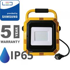 Hordozható PRO LED reflektor (50W/100°) 3 méteres vezetékkel, hideg fényű Samsung Chip