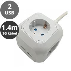 Hosszabbító 4-es elosztóval (4 földelt + 2 USB) fehér - 1.4 m vezetékkel