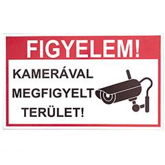-Kamerával megfigyelt terület, PVC tábla (25x15 cm)