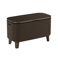 Bevy Cool Bar asztalnak is használható műrattan hűtőláda - barna