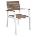 Harmony kartámaszos műanyag kerti szék - fehér - világos barna