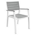 Harmony kartámaszos műanyag kerti szék - fehér - világos szürke