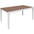 Harmony műanyag kerti asztal - fehér - világos barna
