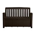 Patio bench műanyag kerti pad/tároló 227L - barna