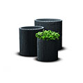 S+m+l cylinder planters műrattan virágcserép szett - antracit